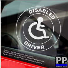 Disabled Driver-CIRCLE,Van,Truck,Bus Window Sticker-Disability Sign,Car,Badge